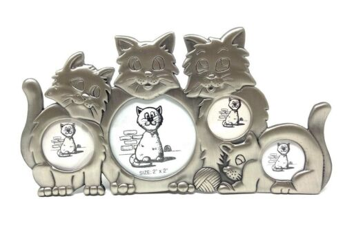NEW in BOX! CAT COLLAGE PHOTO FRAME in PEWTER - HOLDS 4 PICTURES Cats or Kittens