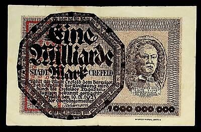 1923 Germany CREFELD 1.000.000.000 / 1 Billion Mark Banknote / Notgeld