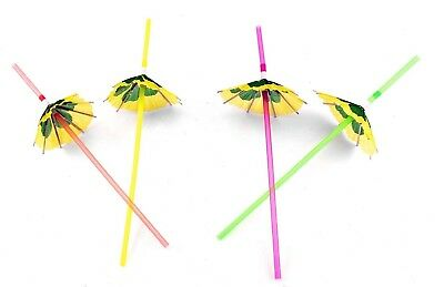 48 Hawaiian Luau Parasol Cocktail Umbrella Straws Tropical Party Decorations