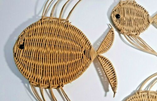 Set of 3 Wicker Rattan Fish Wall Hanging Art Vintage Woven Decor Art