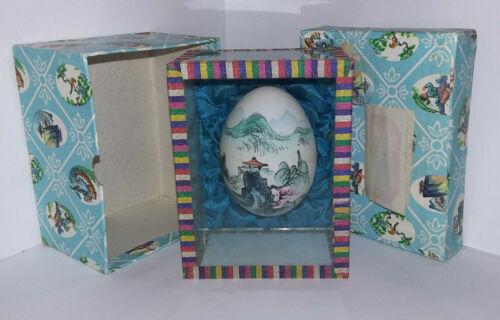 Vintage Hand Painted Egg Chinese/Asian Decor Original Case w/Original Box