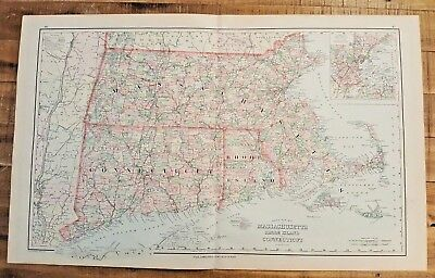 Antique/Gray's New MAP Massachusetts, RI & Connecticut -The National Atlas 1893