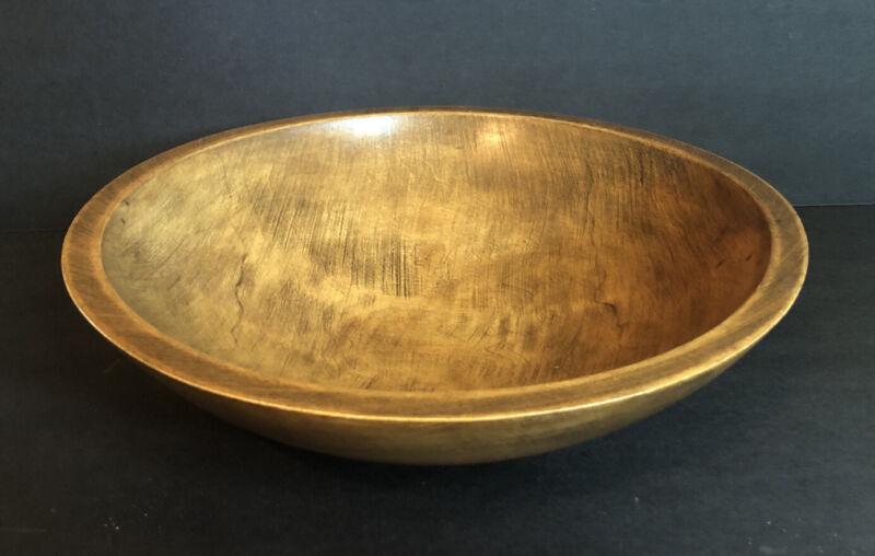 Solid Wood Round Dough Fruit Bowl Primitive Vintage Style