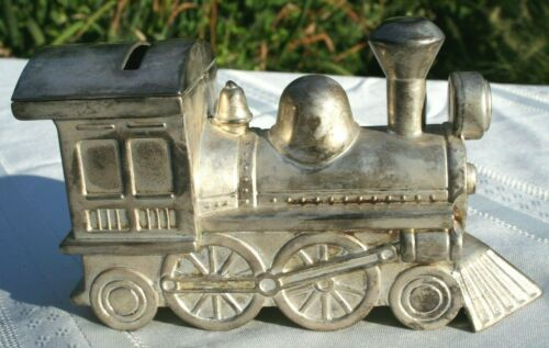 Vintage Train Locomotive Engine Bank International Silver Plated Vintage 1994