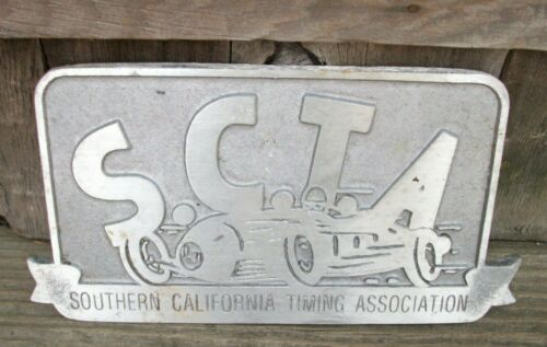 SCTA Southern California Timing Cast Metal Hot Rod Car Club Plaque License Plate