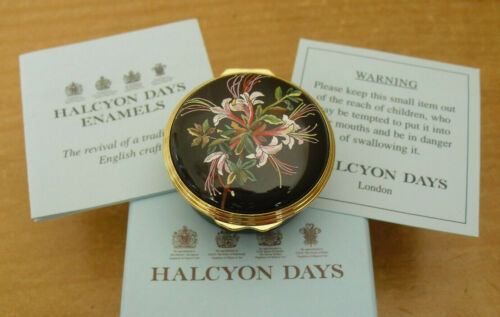 "Boxed Halcyon Days/British Museum ""Azalea Viscosa"" - Mrs Delaney Enamel Box"