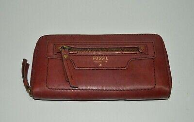 Fossil Deep Red Genuine Leather Zip Around Wallet