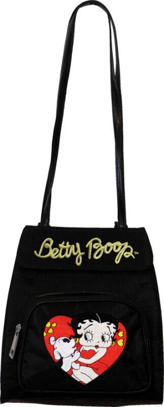 Betty Boop Hearts Convertible Zippered Backpack Shoulder Bag Black BP-108B