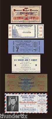 6 1960-62 JFK JOHN F KENNEDY ticket replicas dnc  inaug   scrapbooking  GREAT!
