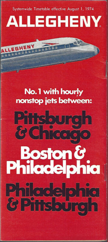 Allegheny Airlines system timetable 8/1/74 [6031] Buy 4+ save 25%