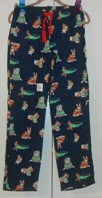 WOMEN'S OLD NAVY NAVY BLUE DOG PRINT  FLANNEL PAJAMA BOTTOMS - SIZE XSMALL