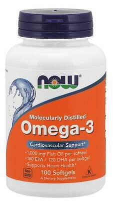 NOW Foods Omega 3 180EPA/120DHA 100 Softgels 1000mg Fish Oil 05/22EXP