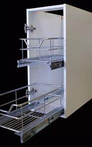 Kitchen Pull Out Soft Close Larder  Basket Shelves Chrome 300mm Unit