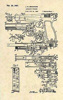 Mauser C96 Pistol Broomhandle Gun Patent Print 681 Antique WWI Firearm