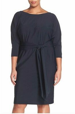 Adrianna Papell Belted Bateau Neck Dress (Plus Size) (size 2X) - -