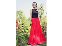 Stylish Designer Custom Made Prom Dress in Red and Black