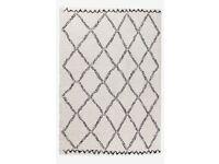 Moroccan rug white/beige/dark brown