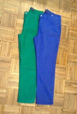 2 Pair NYDJ Jeans-Green & Blue-Size 12-Straight Leg-NWOT-Excellent Blue 2 Straight Leg Jeans