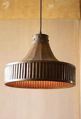 Corrugated Copper Pendant Light by Kalalou New In Box
