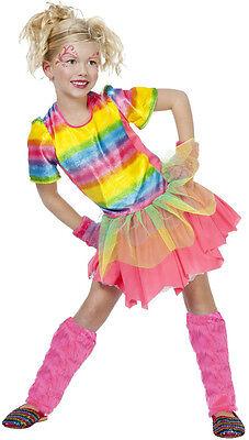 Neon Regenbogen Fee Kinderkostüm NEU - Mädchen Karneval Fasching Verkleidung Kos ()