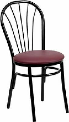 New Metal Fan Back Restaurant Chairs W Burg. Vinyl Seat Lot Of 20 Chairs