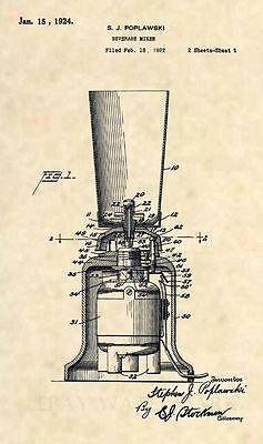 Official 1924 Blender US Patent Art Print - Alcohol Mixer Vintage Bar Art -352