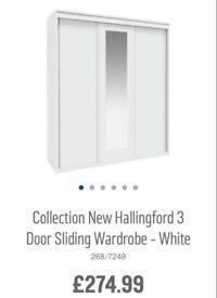 White/Mirror 3 door sliderobes and 8 drawer chest NEW