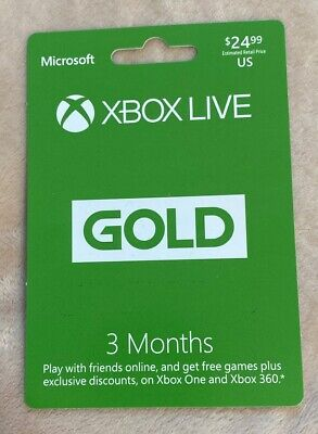 Xbox Live Gold 3 Month Membership (Microsoft) Physical Gift Card Value $24.99