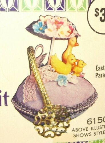Vintage Walco EASTER DUCK PARADE Bead Sequin Christmas Ornament Kit