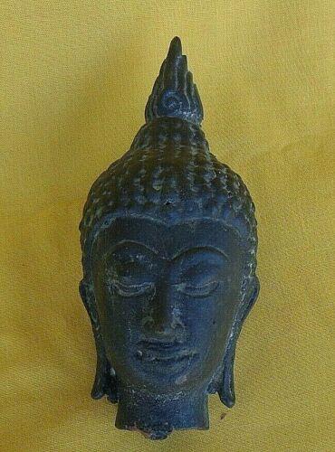 "ANTIQUE THAI SUKHOTHAI BRONZE HEAD OF BUDDAH 5"""