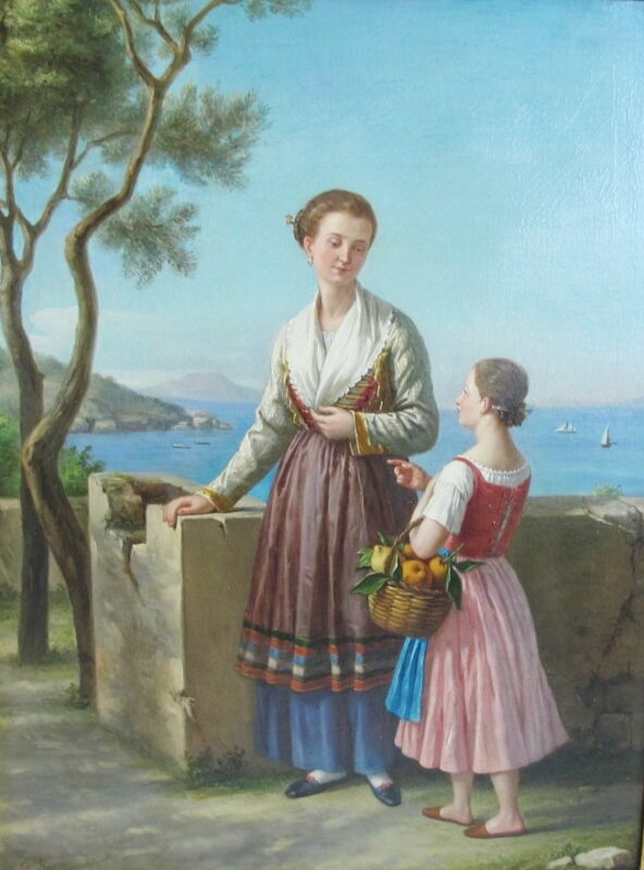 Fine Original Italian Oil Painting  Raffaello Spano  C. 1850  Antique & Awesome