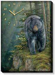 Rocky Outcrop - Black Bear Canvas Clock by Rosemary Millette