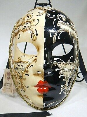 Venetian Mask Hand Painted in Italy Black and White with Sheet Music JP (Black And White Venetian Mask)