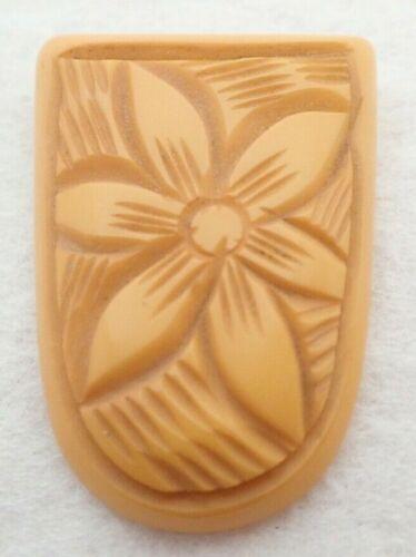 Vintage Carved Flower BAKELITE Dress Clip Brooch