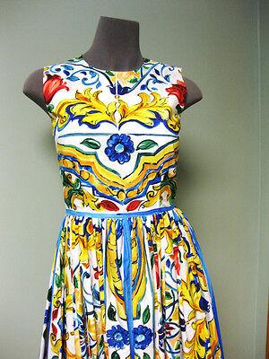 Dolce & Gabbana AUTH NWT Sleeveless Full Skirt Maiolica Tile Poplin Dress 38