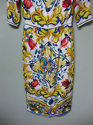 cbc323b6609 ... Dolce   Gabbana AUTH NEW Blue Yellow Red Maiolica Tile Print Sheath  Dress 38 фото ...