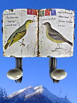 Garderoben Wandhaken +Schild Eisen 2er Vögel Hängeaufbewahrung Vintage Ästhetik