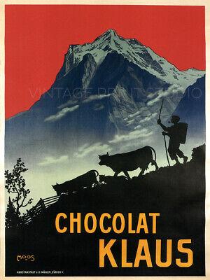 Chocolat Klaus 1911 Vintage Travel Alp Swiss Chocolate Giclee Canvas Print 30x40