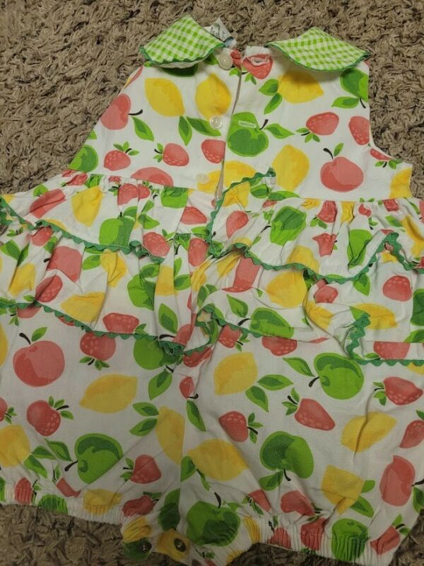 Baby girl Vintage Lemon and Apple Romper 6-9M