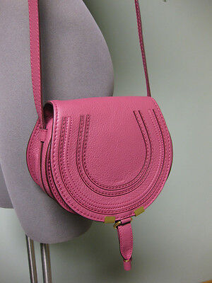 Chloe AUTH NWT Grained Leather Marcie Small Round Crossbody Bag Pink