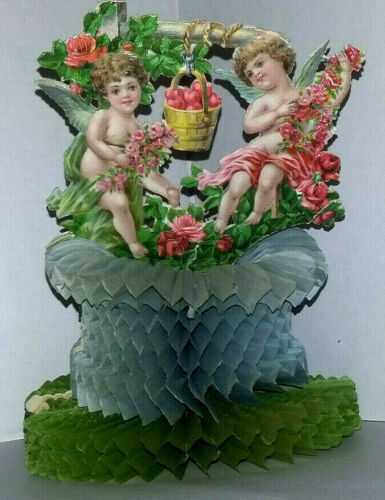 Antique/Vtg Early Die Cut Valentine Pop Up Paper Ephemera Angels/Cherubs/Roses
