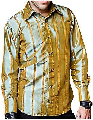 SHRINE CARNY GOTHIC VAMPIRE STEAMPUNK POET VICTORIAN GOLD BLUE TAFFETA SHIRT Casual Button-Down Shirts