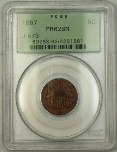 1867 Shield Nickel Pattern Proof 5c Pcgs Pr-62 Bn *rev 67* Ogh J-573 Judd Ww