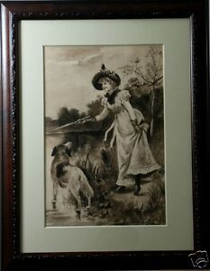 Mary-Austin-Oliver-American-1851-1948-Original-Watercolor-Painting-Woman-amp-Dog