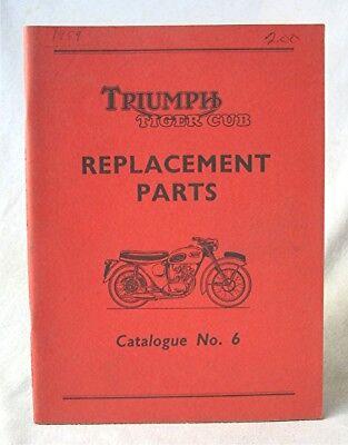 Vintage March 1959 Triumph Tiger Cub Motorcycle Parts Catalog No. 6