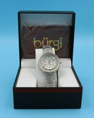 Women's Burgi BUR048SS Diamond Dial Crystal Accented Silver-tone Bracelet Watch