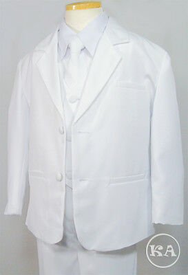 Boy's 5pc White Formal Suit First Communion Wedding Pageant 5-14 - First Communion Suit Boy