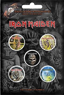 Iron Maiden Faces of Eddie  pack of 5 round pin badges  (ro)