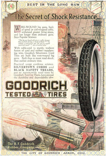 Goodrich Tires WW1 WIRE-WOUND GUNS Johnsons Prepared Wax 1918 COLOR MAGAZINE ADS