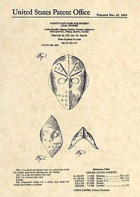 Goalie Mask Art - Vintage Goalie Hockey Mask US Patent Art Print- NHL Jason Voorhees Horror 111